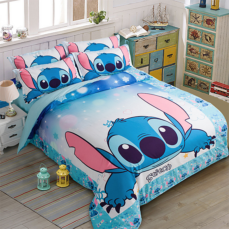 2 Kids Bedroom Ideas King Bedroom Sets Under 1000 Bedroom Ideas Red And Grey 2 Bedroom Apartment Plan Layout: Stitch Printed Bedding Set Cartoon Bedspread Single Twin