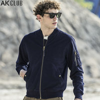 AK CLUB Brand Men Jacket MA 1 Bomber Jacket Vintage Series Military Style Jacket Knitted Denim