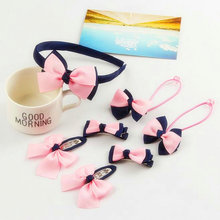 7 Pcs/set Kids Headwear Sets Cute Bowknot Hairpins+Elastic Rubber bands+Headbands girls lovely Hair Clips Accessories T27