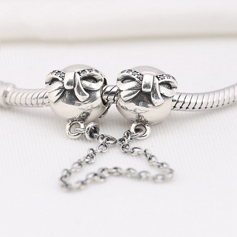 Authentic 925 Sterling Silver Bead Charm Brilliant Bowknot Safety Chain Fit Pandora Bracelets Bangles Women DIY Jewelry Gift