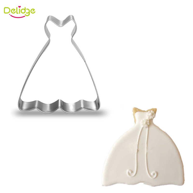 فستان قطعة واحدة من Delidge لقوالب البسكويت من الفولاذ المقاوم للصدأ على شكل تنورة باليه كعك كعك قوالب تزيين دائرية للكب كيك