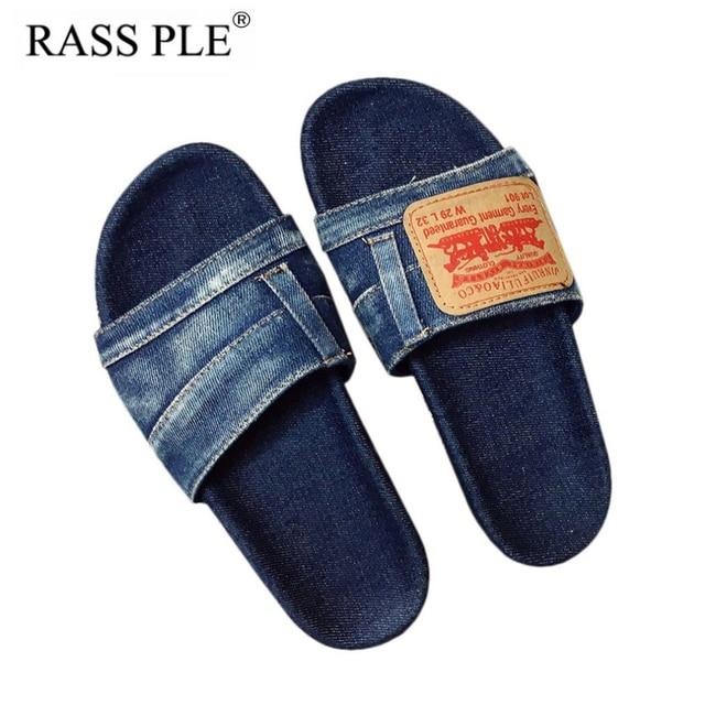 RASS PLE 2018 Denim Cloth Slippers Summer Shoes Open Toe Non-slip Beach  Slippers Flip b51f795e4ad3