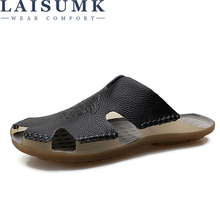 LAISUMK Dropshipping Mens Slippers Seaside Sandals Cow Genuine Leather Slides Crocodile Pattern Summer Beach Men
