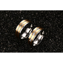 2pcs/lots Couple Ring for Women and Men Gold-color Stainless Steel