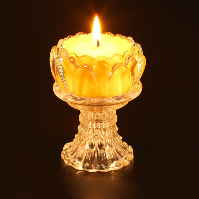 Online Shop Buddha Butter Lamp Candles Lotus Shape Glass Cover ...