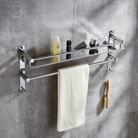 AUSWIND 304 stainless steel 2 layers Bathroom Shelves, bathroom towel rack, hardware hanging, double towel rack 50/60CM