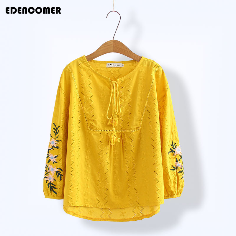 Large Size Women's Shirts 2018 Pure Cotton Embroidered Tops Seven-part Sleeves Loose Casual Plus Size Blouse Women blusas
