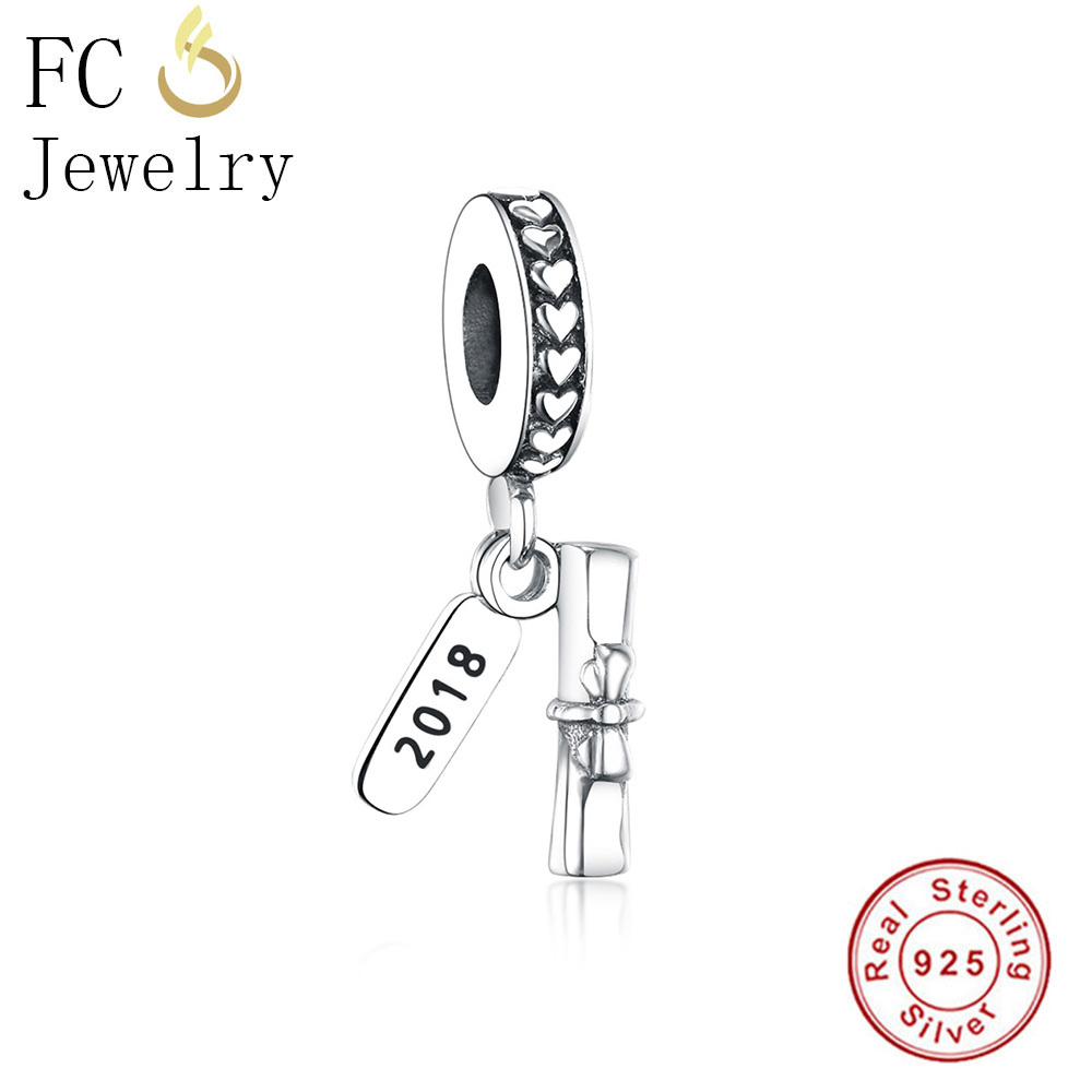 FC Jewelry Fits Original Pandora Charms Bracelet Authentic 925 Silver Ribbon Love Books Bow Beads for Kids Making Berloque DIY