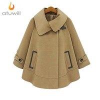 New 2014 Plus Size 5XL XXXXXL Fashion Dolman Woolen Outerwear Autumn Winter British Style Velvet Wool