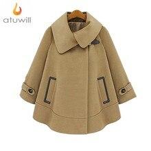 Новые 2017 Весна Зима плюс Размеры 4XL Мода Dolman шерстяная Верхняя одежда на осень-зиму британский стиль бархат шерстяные пальто женщина плащ