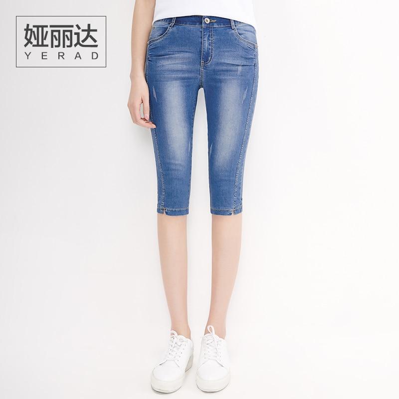 YERAD Women Jeans Breeches 2017 Summer New Knee Length Denim Pants with Pockets  Shorts Capris