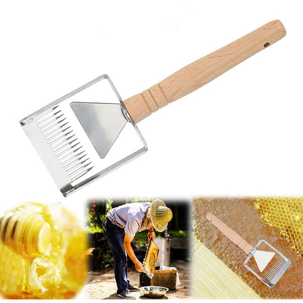 Uncapping Fork Iron Honeycomb Honey Scraper Wooden Handle Beekeeping Tool Apicultura Equipment Uncapping Fork