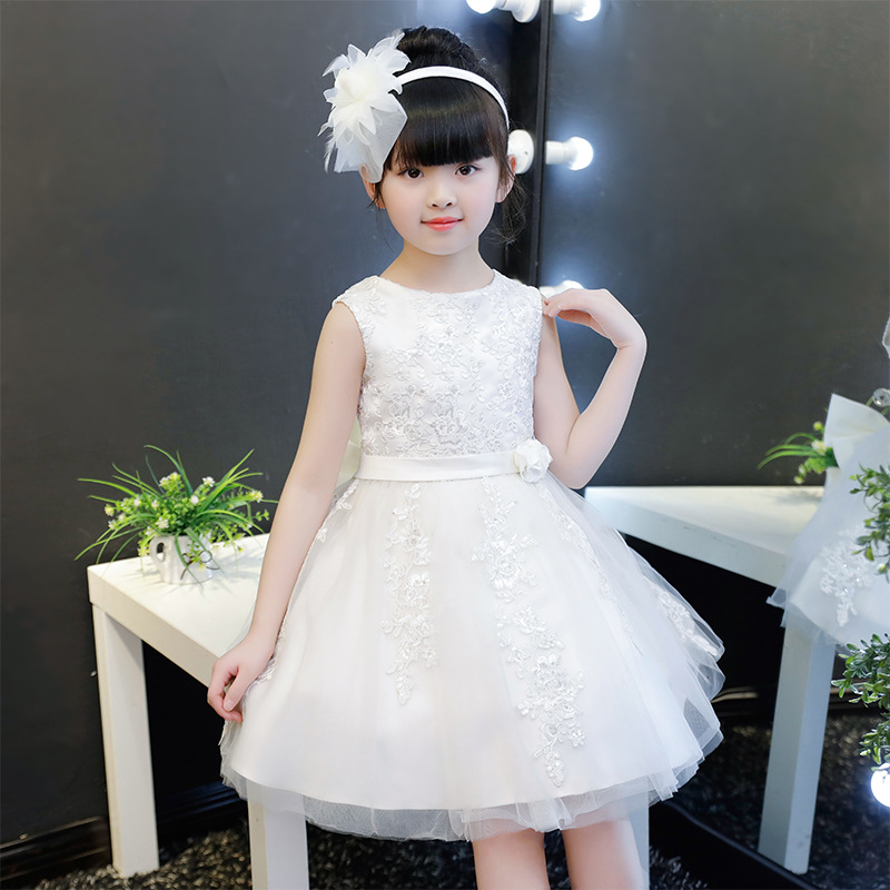 100% Real Photos White Color Lace Flower Girls Dresses for Weddings 2018 Summer Kids Prom Dresses Ball Gown for Birthday Party|Dresses| |  - title=