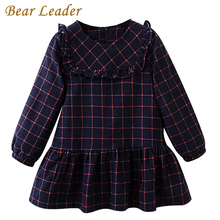 Bear Leader Girls Dress 2017 New Autumn Brand Girls Clothes Classical Plaid Cute Lace Design Baby Girls Dress For 3-7 Years