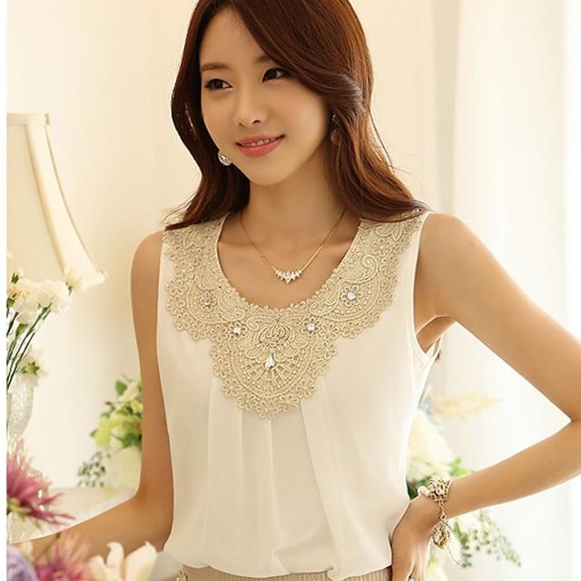 9f3ed4de8fe New 2014 Fashion Elegant Diamond Crochet Lace Sleeveless Pleated Chiffon  Top