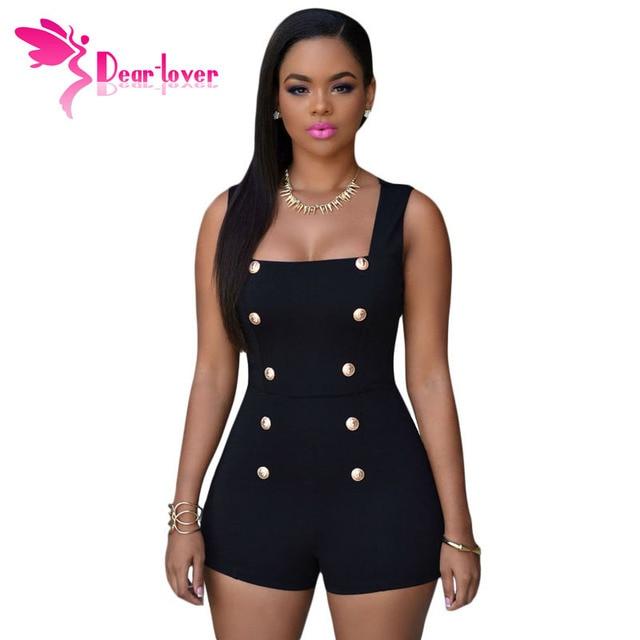 Dear Lover Playsuits Womens 2016 Black Gold Buttons Zipper Romper Shorts Sexy Jumpsuit macacao feminino Summer bodysuits LC60513