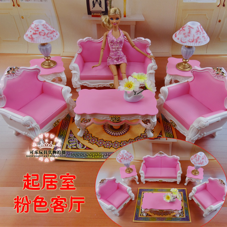 Furniture Living Room (sofa + Coffee Table + Lamp) Accessories For Barbie Doll 1/6 Toys Girl Birthday Gift Plastic Play Set