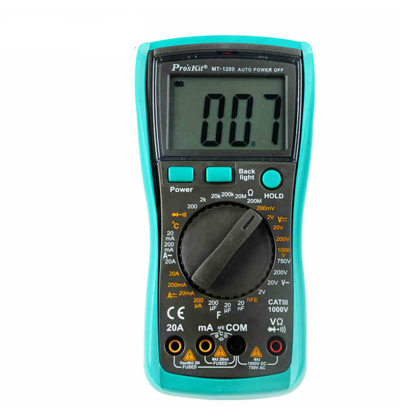 MT-1280-C 3 1/2 Digital Multimeter DC AC Voltage Current Capacity Resistance Tester Beep Ammeter Multitester Temperature 6d maxliner