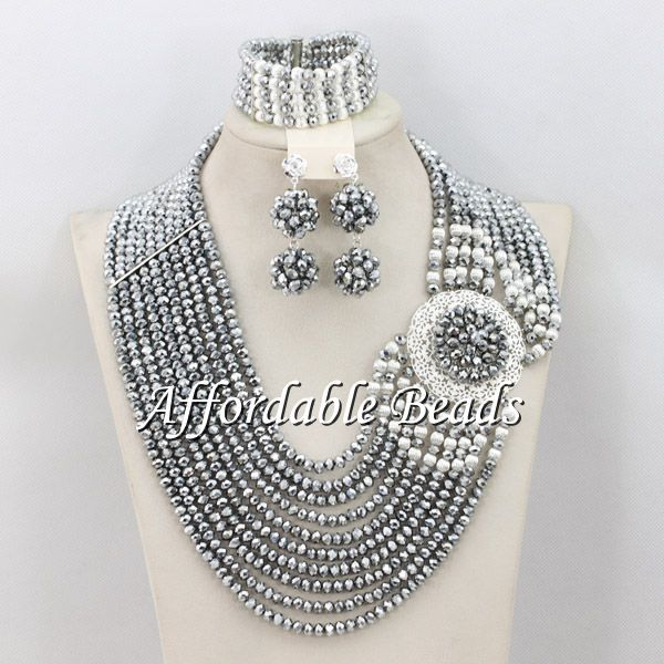 Silver Gray Beads For African Wedding Glamorous Nigerian Beads Jewelry Set Hot Item Free Shipping ABE099