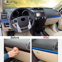 Tonlinker Cover Stickers For PRADO 2010 18 Car Styling 2 PCS Stainless steel The dashboard Glove box Sequin Cover Case Stickers