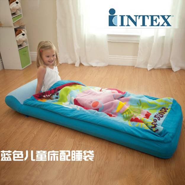 the latest 9578f feb92 US $28.5 25% OFF|INTEX children's inflatable mattress single thickening air  mat bed break cushion with sleeping bag storage bag 66802-in Camping Mat ...