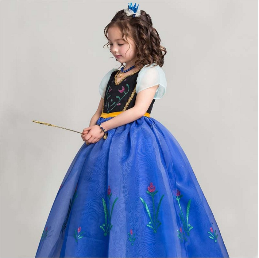 2018 Summer Princess Anna dress Girls baby Elsa and Anna dresses kids Cosplay Costume for Birthday Party Vestidos Menina Top