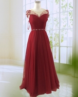 Real Photo Burgundy A Line Evening Dress 2017 Newland ZhiMei New Design See Through O Neck
