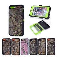 Bos Camo Zware Case voor iPhone 6 + 6 Plus Shockproof Full Body Bescherming Cover Met ingebouwde Screen Protector Riemclip