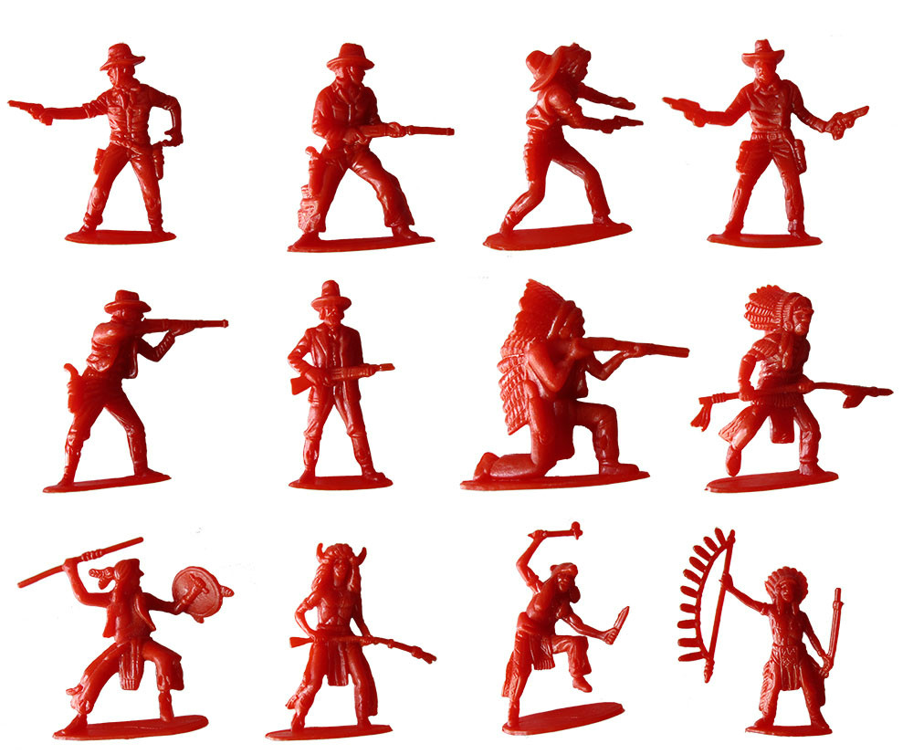 60pcs/lot Plastic Soldier Toys 5cm Hight Twelve Kinds of Styling Indigenous Indian Soldiers Cowboy Classic Retro Gifts for Kids