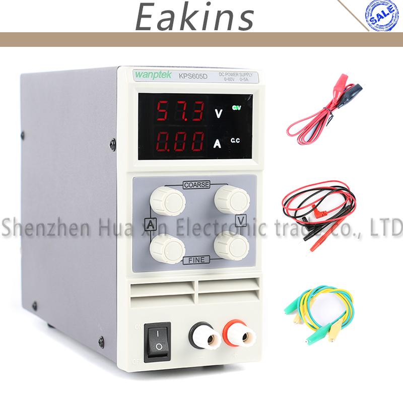 605D 605DF Adjustable LED Display Mini Laboratory Switch DC Power Supply Protection Function 60V 30V 5A 110V-230V 0.1V 0.01A EU kps305d adjustable precision double led display switch dc power supply protection function 0 30v 0 5a 110v 230v