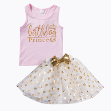 Summer New Sweet Gloden Dots Baby Clothing Set Kids Girls T-shirts Princess Party Tutu Ball Gown Skirt Clothes outfits Sets 2019