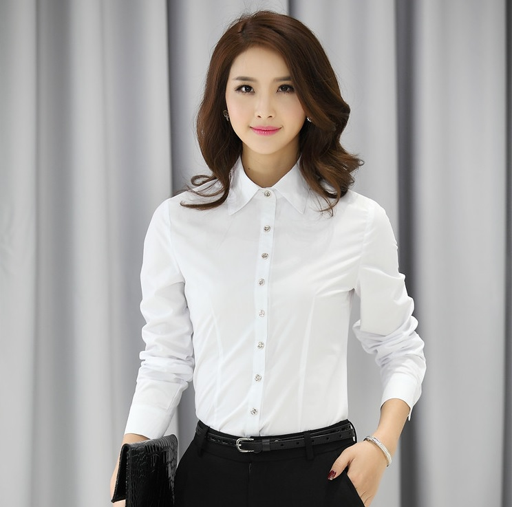 Spring Autumn Business Women Blouses Shirts Tops Blusas Femininas ...
