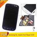 Free shipping  LCD For Samsung Galaxy S3 LCD i9300 LCD White Blue display Touch Screen Digitizer Assembly With Fram