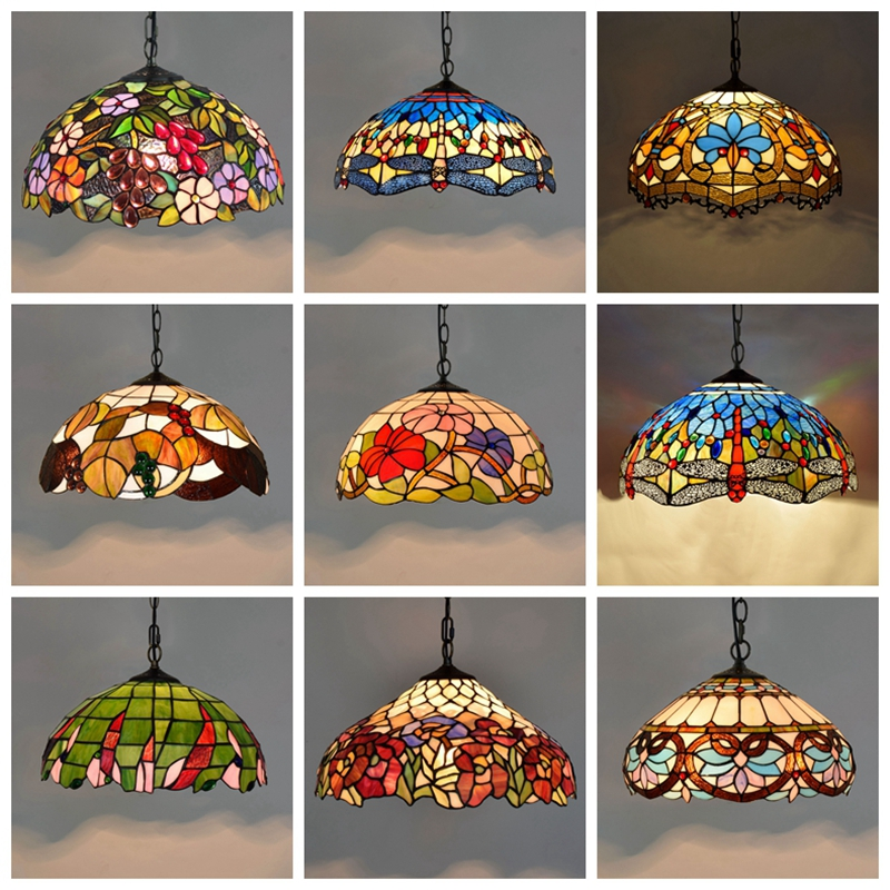 Tiffany Baroque Stained Glass Suspended Luminaire E27 LED Iron Chain Pendant Light Lighting Lamp for Home Parlor Dining Room - 2