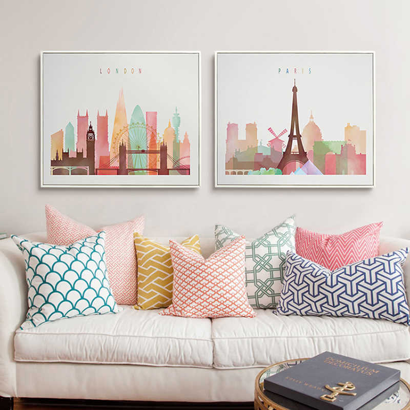 Watercolor London New York Paris City skyline Poster Print Canvas Painting Pop Wall Art Pictures Living Room Home Decorations