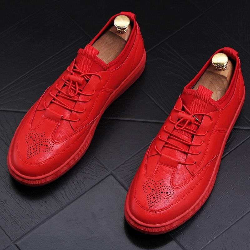 Loisirs Richelieu Mode Plate Casual Hommes Rouge Homme British Mocassins Errfc forme Sculpté Noir Zapatos New Tendances Hombre Chaussures rouge UqVMSzp