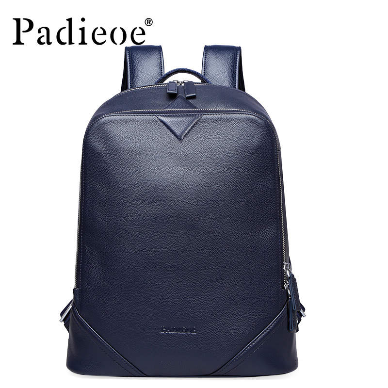 Padieoe Fashion Men And Women Genuine Leather School Bags For Teenagers Backpack Famous Brand Men Travel Casual Cowhide Backpack padieoe new designer canvas men casual daypacks large waterproof men s backpack famous brand rucksack school bags for men women