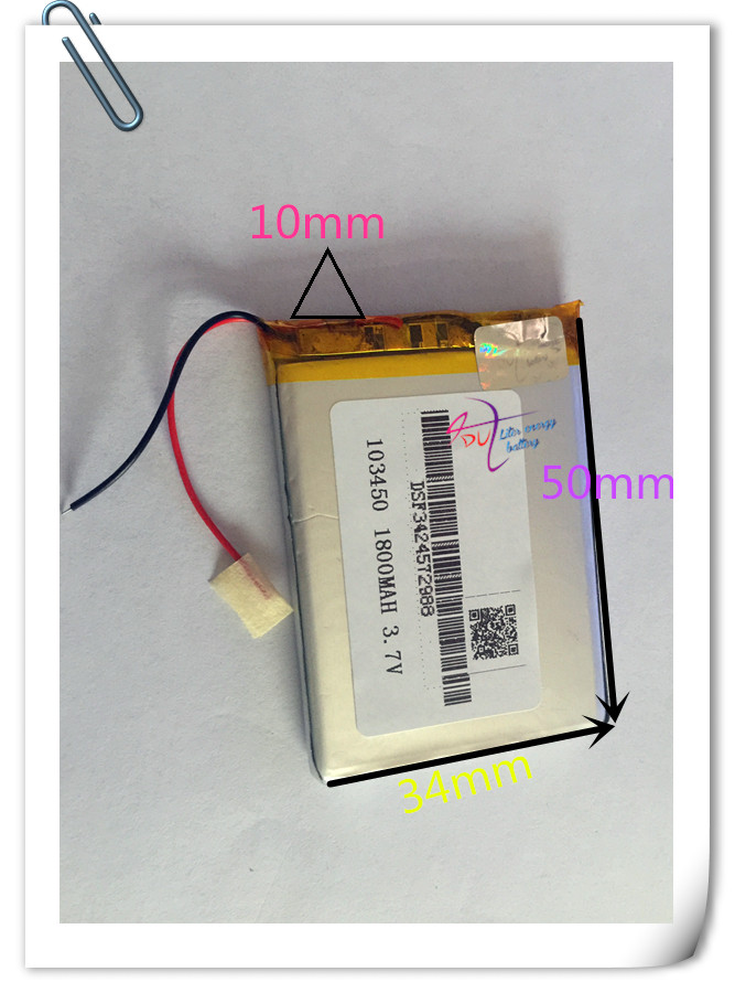 5 x pcs 3.7V 1800mAh 103450 Lithium Polymer Li-Po Rechargeable Battery For GPS DVD mobile Cell copter tablet PC power bank s103 s103bk