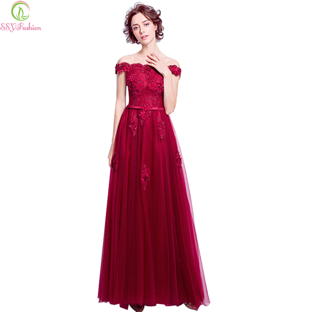 SSYFashion New Wine Red Lace Evening Dress Bride Married Banquet Elegant  Boat Neck Floor-length Prom Party Gown Robe De Soiree 785ac61f54c9