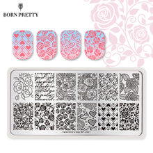 BORN PRETTY Valentine's Day Nail Stamping Plate Rose Flower Love Rectangle Template Nail Art Image Plate