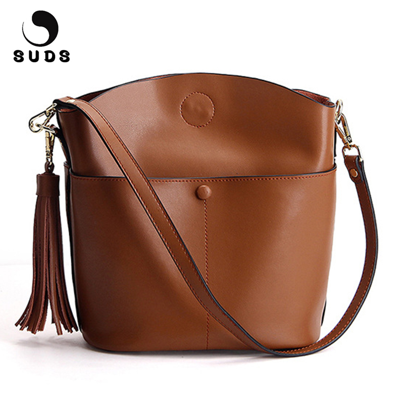 SUDS Brand Real Cow Leather Bucket Bags Women Fashion Tassel Genuine Leather Shoulder Bags Designer High Quality Messenger Bags
