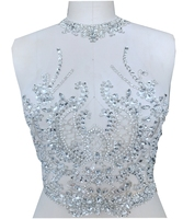 sew on silver rhinestones applique on white mesh crystal trim patches for dress 46*35cm