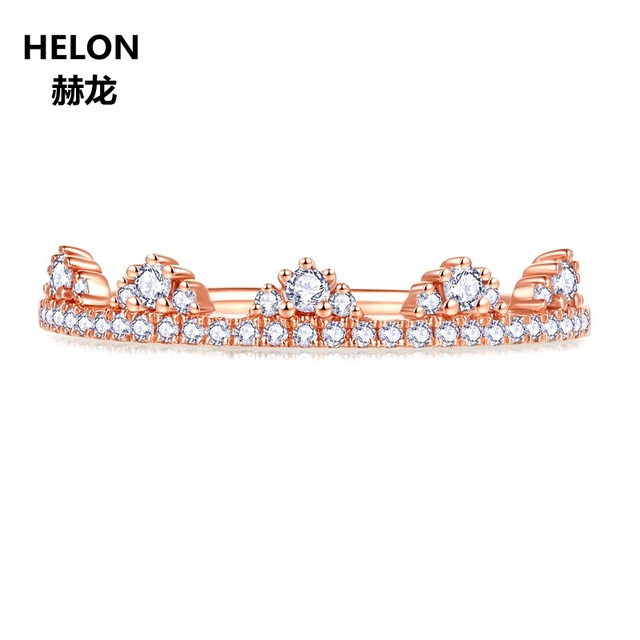 0.19ct SI/H Natural Diamonds Women Engagement Ring Solid 14k Rose Gold Crown Anniversary Wedding Band Fine Jewelry