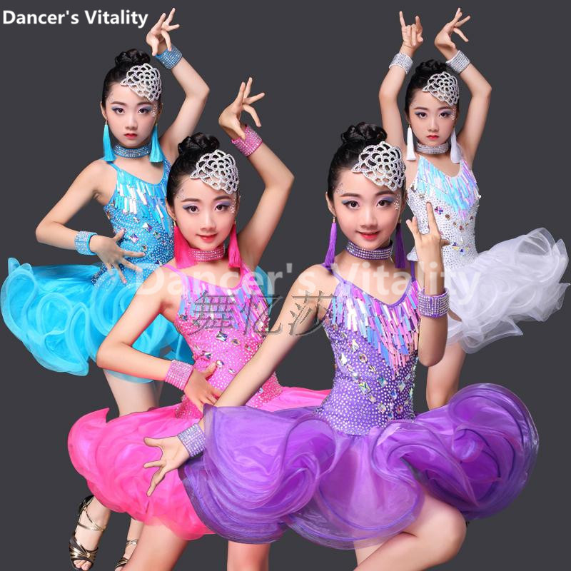Professional Child Latin Dance Dresses Kids Ballroom Dance Costume Girl Modern Dance Dress Women Waltz Stage Dance Clothing