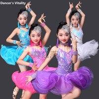 Professional Child Latin Dance Dresses Kids Ballroom Dance Costume Girl Modern Dance Dress Women Waltz Stage
