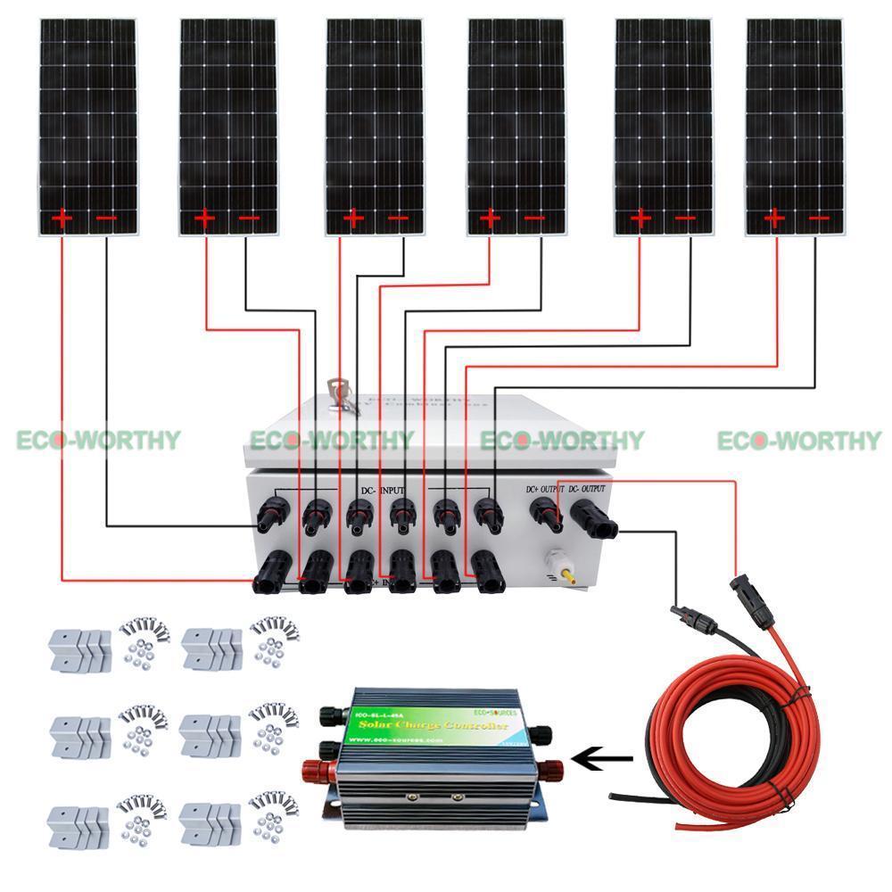 160W 12V Mono Solar Panel  6-String Combiner Box 45A PWM Battery Controller Solar Generators