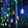 Corded Christmas Tree Shaped LED Flashing Lights String Curtain Decoration Extendable Lamp Fairy Outdoor Layout For