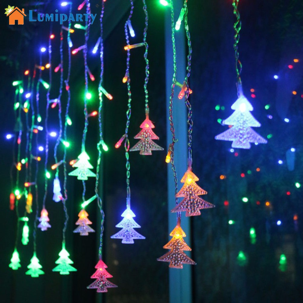 LumiParty Corded Christmas Tree Shaped LED Flashing Lights String Curtain Decoration for Christmas Outdoor Decoration jk30 snowy christmas tree pattern shower bath curtain