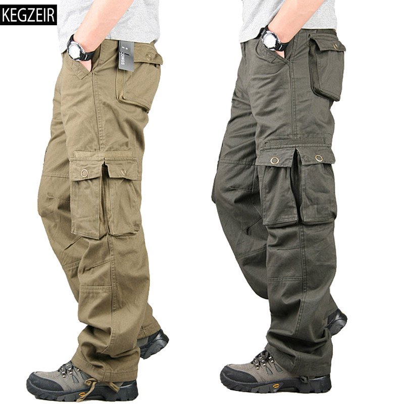 Spring Winter Cargo Pants Men Multi Pocket Straight Mens Military Trousers Casual Baggy Pants Men Big Size Spodnie Taktyczne(China)