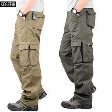 Wiosna zimowe Spodnie Cargo mężczyźni wielu kieszeni proste męskie wojskowe Spodnie na co dzień workowate Spodnie mężczyźni duży rozmiar Spodnie Taktyczne tanie tanio Pełnej długości JZ-02 Wojskowy Luźne KEGZEIR Suknem Mieszkanie Poliester COTTON Heavyweight 2 32-3 57 Cargo pants Kieszenie